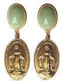 Medaille mit Darstellung Maria an weinrotem Cabochon_