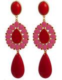 Ohrstecker mit Tropfenbehang rot und pink; auch als Ohrclips_
