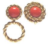 Ohrsschmuck mit Doppelfunktion, kann kurz oder lang getragen werden - Acryl-Gemme golden _