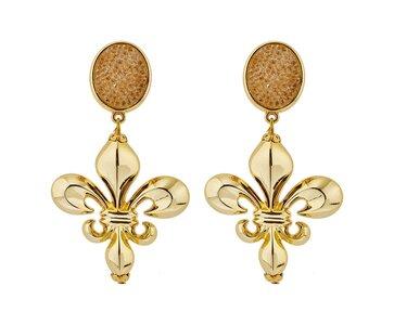 Kristalle hellbraun mit Acryl-Bourbonen-Lilie gold