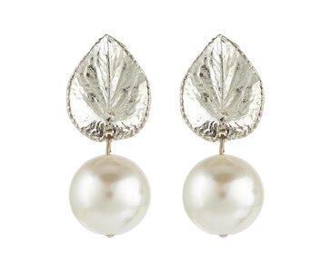 Ohrstecker Silberblatt mit Perle weiß