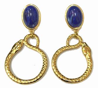 Ohrstecker mit Cabochon blau und Behang-Schlangenring