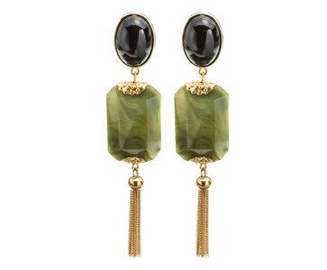 Ohrring bi-color mit jade-grünem Octagon-Behang und Metall-Quaste an schwarzem Cabochon