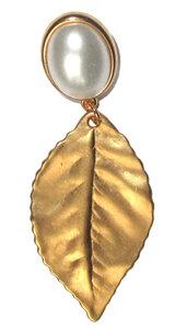 Goldblatt matt an wachsweissem Cabochon