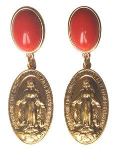 Medaille mit Darstellung Maria an korallefarbigem Cabochon