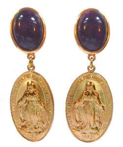 Medaille mit Darstellung Maria an violettem Cabochon