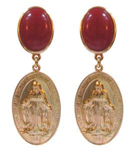 Medaille mit Darstellung Maria an weinrotem Cabochon
