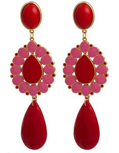 Ohrstecker mit Tropfenbehang rot und pink; auch als Ohrclips