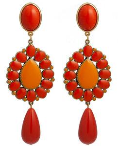 Ohrstecker mit Tropfenbehang koralle und orange; auch als Ohrclips