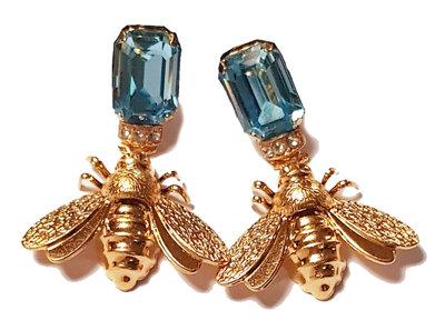 Octagonaler Stecker aqua-blau mit Bienen-Behang